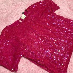 Vintage holographic hot pink sequin top 100% silk